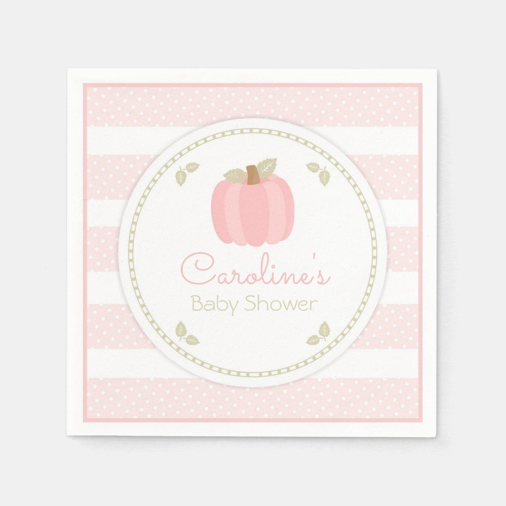 Pink Pumpkin Baby Shower Napkin