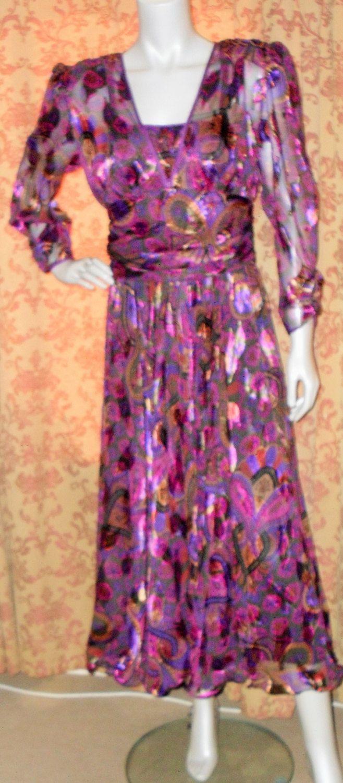 Vintage 1980s Frank Usher jewel tone dynasty style purple paisley evening party floaty dress (5067) by AuntyDollsWardrobe on Etsy