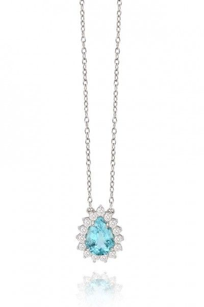 A turmalina paraíba da Frattina em colar de ouro branco com diamantes  (preço sob… 96526b7ff0