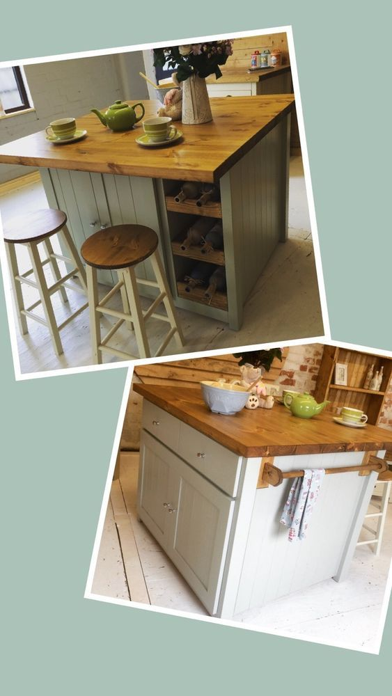Diy Breakfast Bar Frame Built To An Existing Kitchen Island: £1235 Handmade To Order Bespoke Pine Freestanding Kitchen