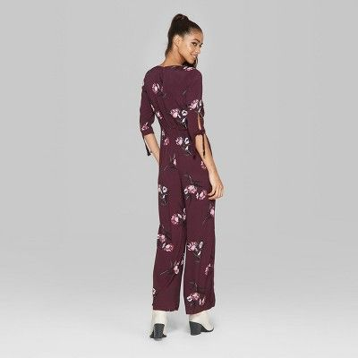 e5f61dc5ba85 Women s Floral Print Tie Short Sleeve Jumpsuit - Wild Fable Burgundy (Red)  Xxl