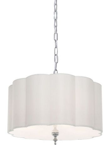 24 Scalloped Drum Shade Pendant Large Pendants