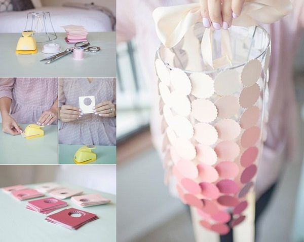 DIY Paint Chip Ombre Lamp Shade, From
