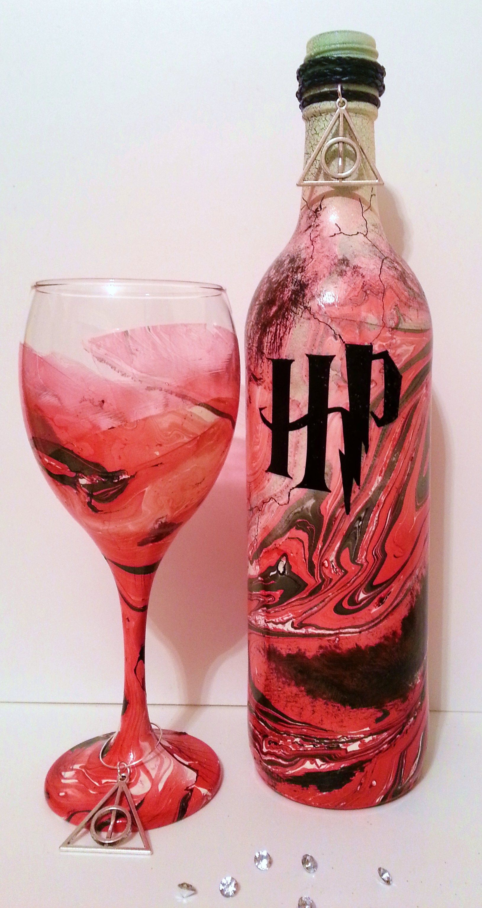 Harry Potter Wine Glass And Wine Bottle Candle Holder 19 99 Painted Wine Bottles Harry Potter Wine Glass Wine Bottle Candles