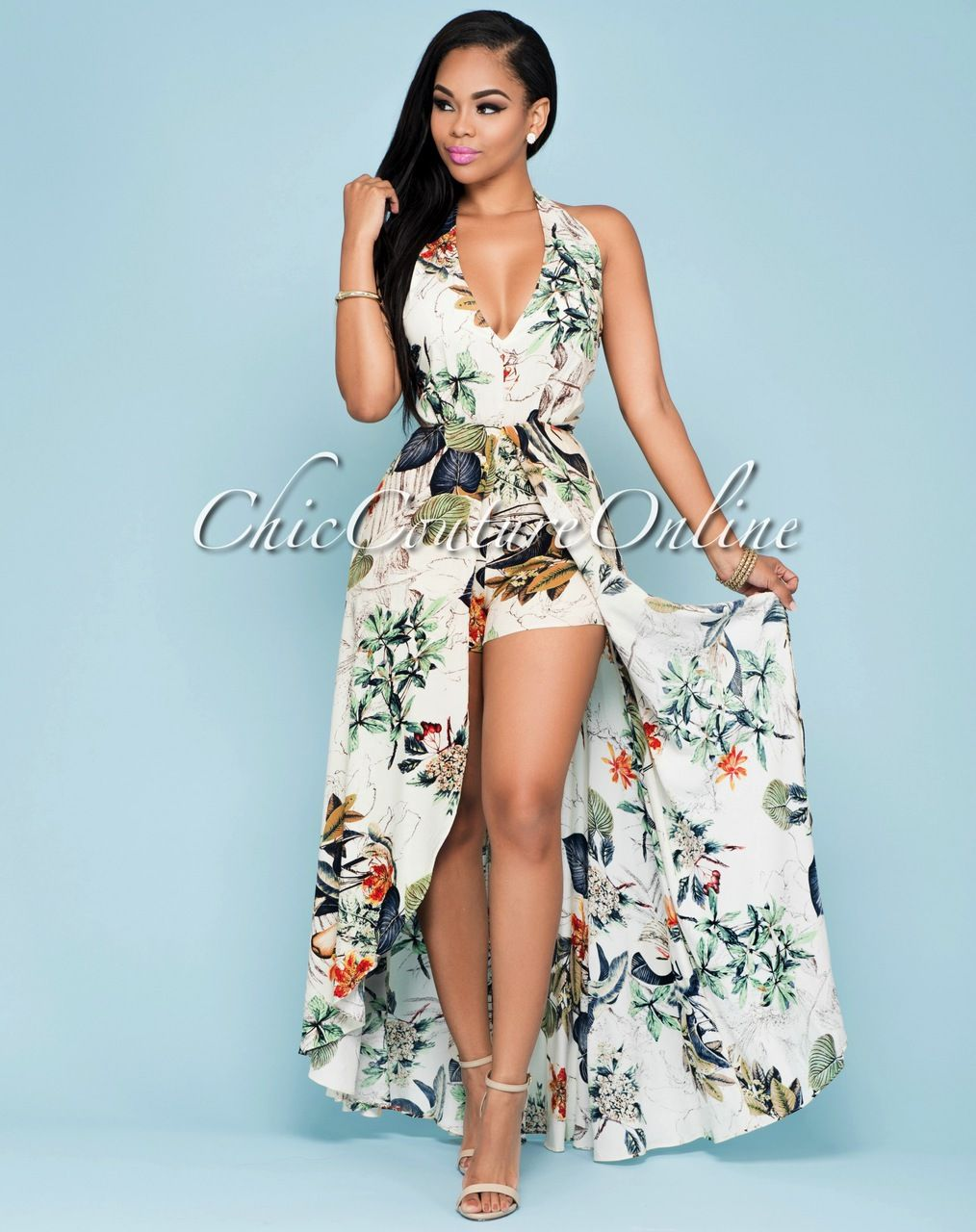 Chic Couture Online - Curacao Beige Multi-Color Floral Romper Maxi ...