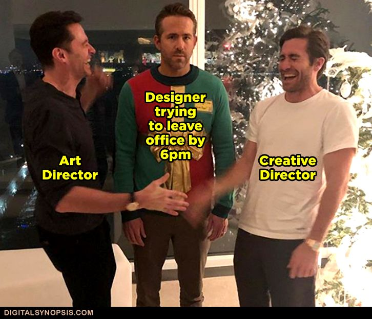 Designer trying to leave office by 6 pm: Art Director & Creative Director laughing