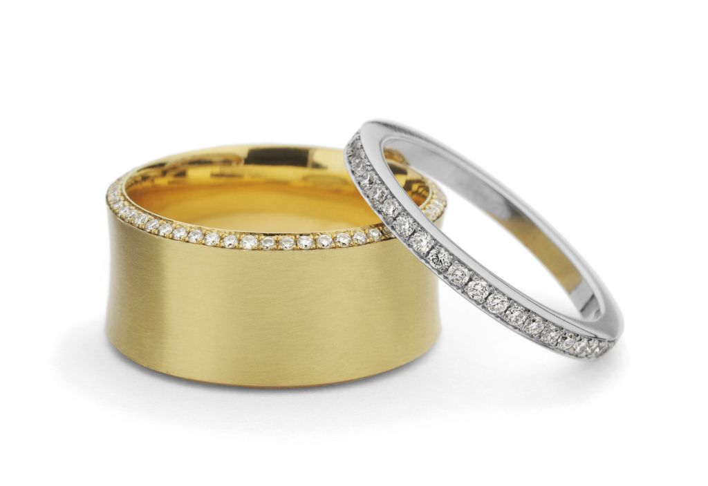 18 carat yellow gold platinum wedding and eternity bands