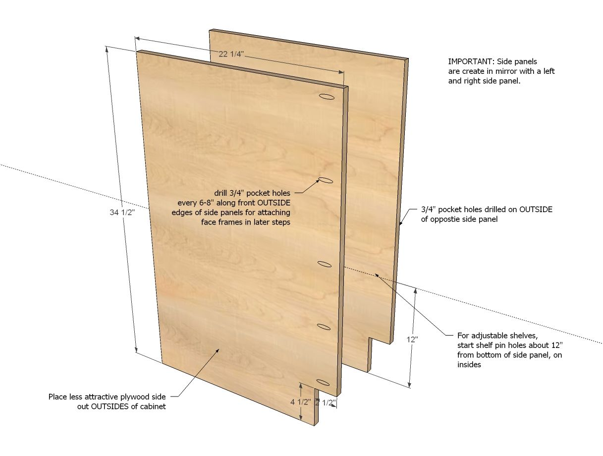 Ana White  Build a 21 Base Cabinet DoorDrawer Combo