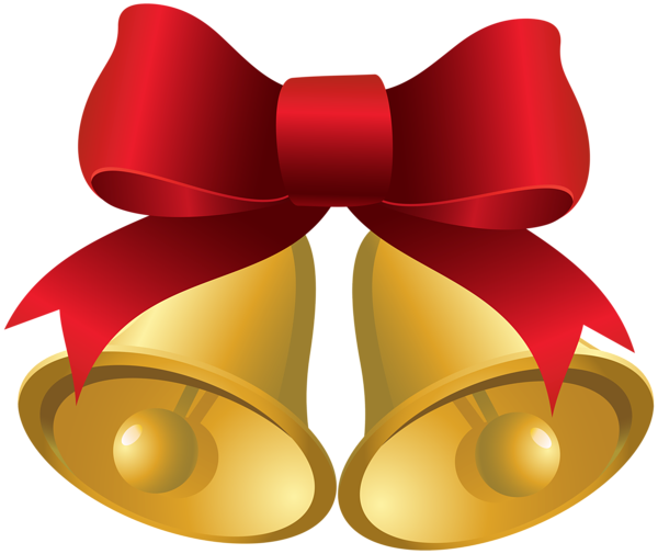 Christmas Gold Bells With Red Bow Png Clipart Image Free Clip Art Gold Christmas Bells