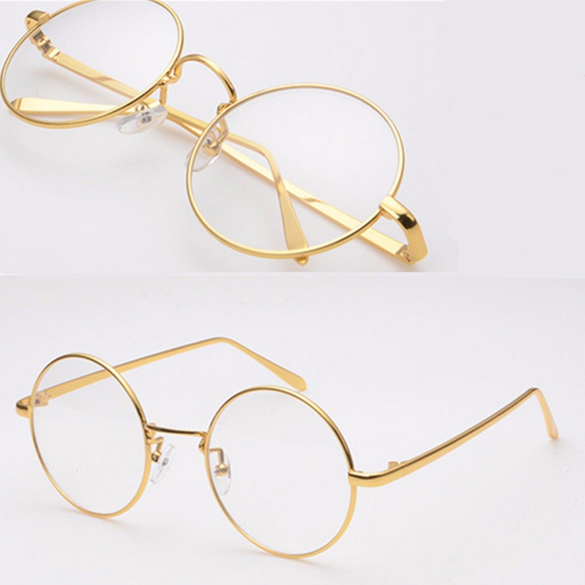 33edc4a1b36 GOLD Metal Vintage Round Eyeglass Frame Clear Lens Full-Rim Glasses ...