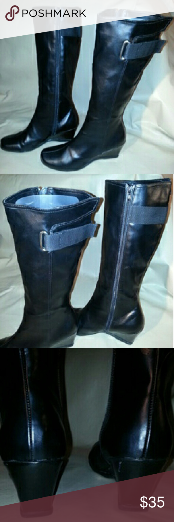 """Kenneth Cole boots Kenneth Cole - Reaction black boots, nearly new condition, 2 3/4"""" wedge heel,  15"""" shaft height, shaft opening 15"""", shaft does not expand. Size 11. Kenneth Cole Reaction Shoes Winter & Rain Boots"""