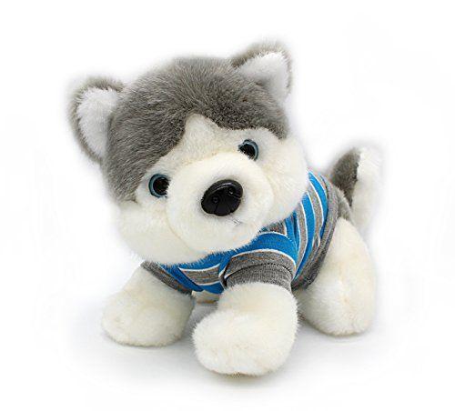Siberian Husky in Rlue T shirt Sitting Plush Puppies Stuf
