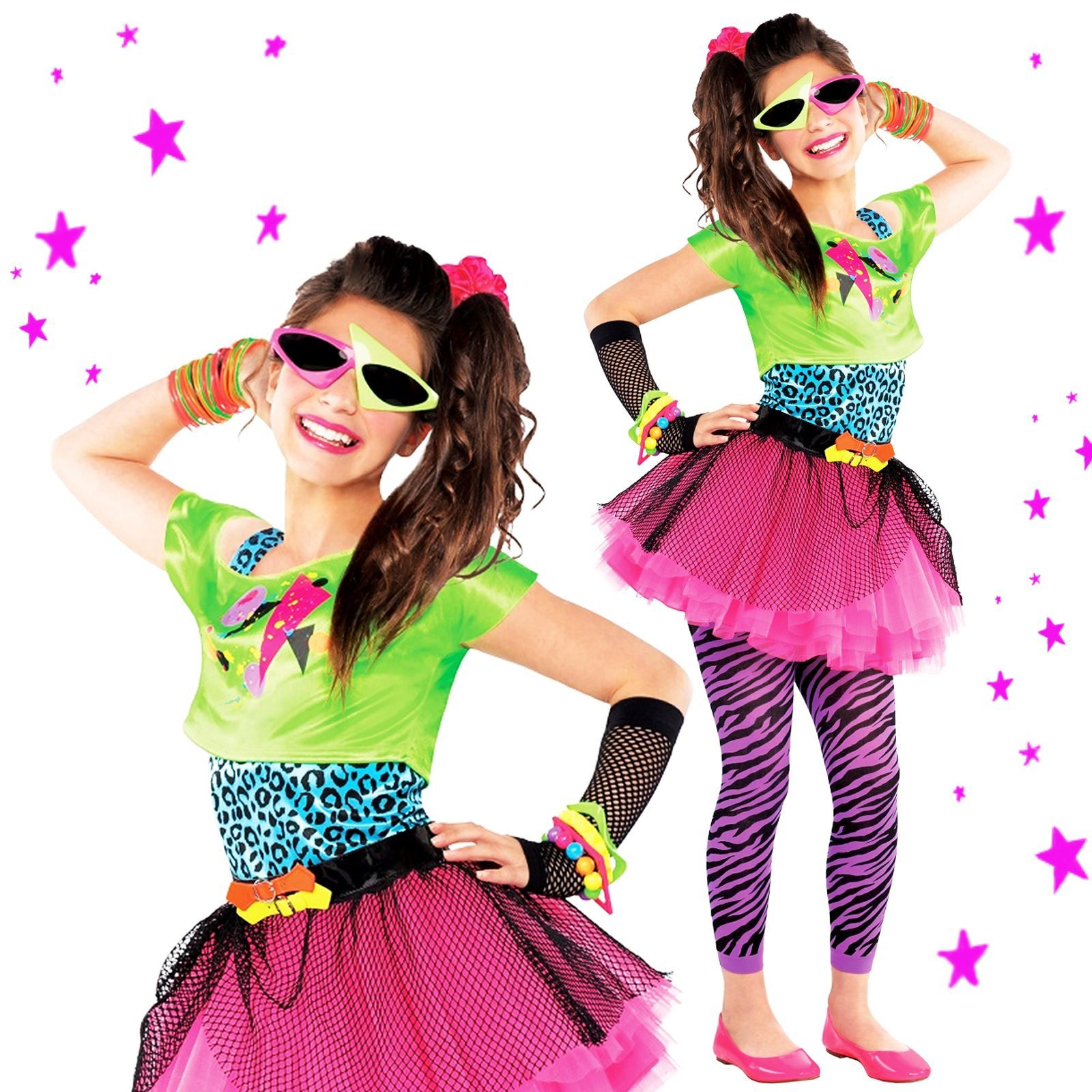 80s Party Totally Awesome Girls Teen Neon Pink Tutu Fancy Dress ...