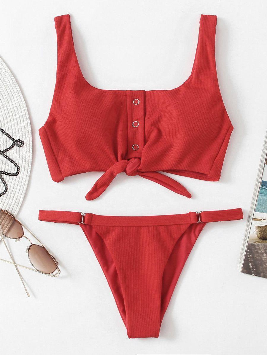 620dc7e27ecc3 Shop Knot Front Low Back Bikini Set online. SheIn offers Knot Front Low  Back Bikini