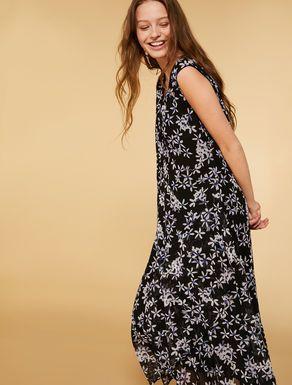 Langes Kleid aus Georgette, schwarz - DELTA | Lange ...