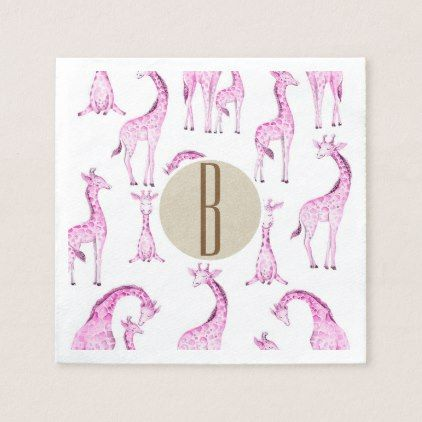 Pink giraffes baby shower monogram letter initial paper napkin pink giraffes baby shower monogram letter initial paper napkin monogram gifts unique design style monogrammed negle Image collections