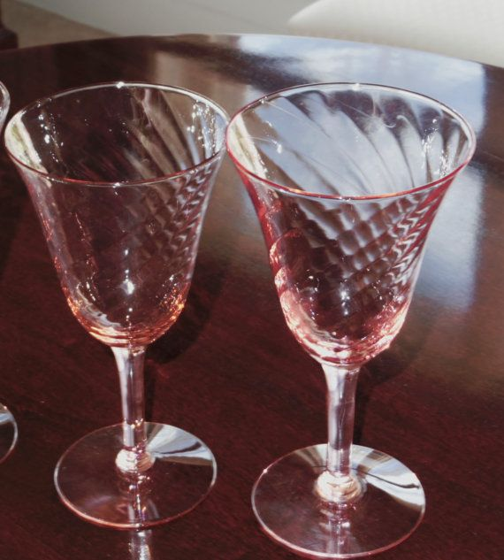 2 TIFFIN FRANCISCAN DEPRESSION Glass Pink Swirl Goblets ...