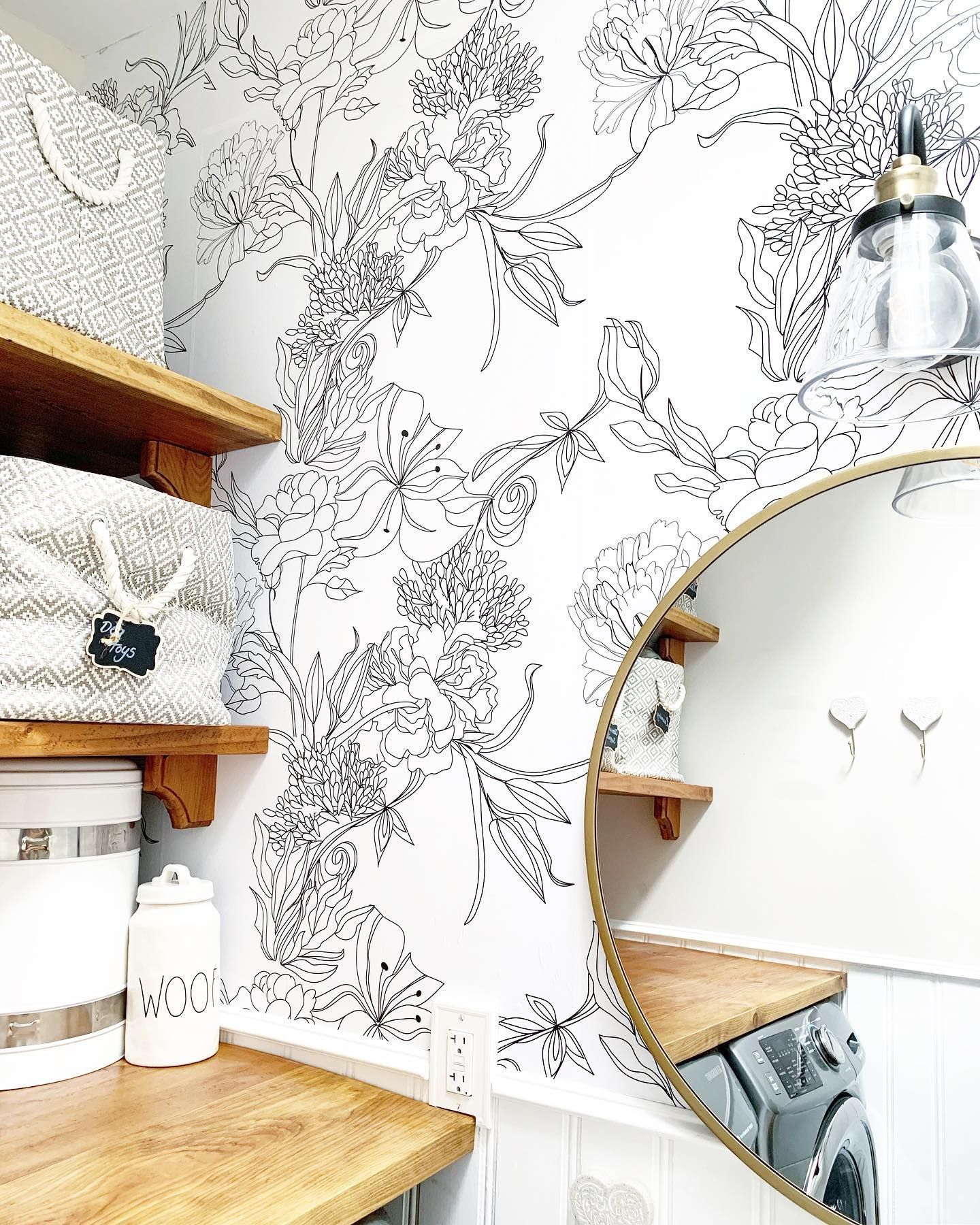 We Installed New Wallpaper Today Wallsneedlove Peel Stick Wallpaper Is Pre Glued In Between The Feature Wallpaper Wall Wallpaper White Pattern Wallpaper