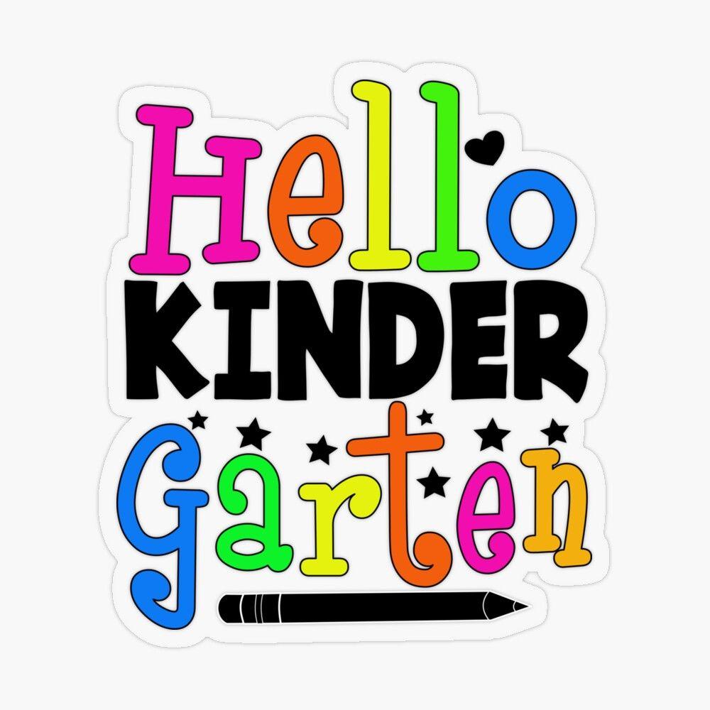 Hello Kindergarten - Back to School' Transparent Sticker by Lanecarter    Back to school, School s, School stickers
