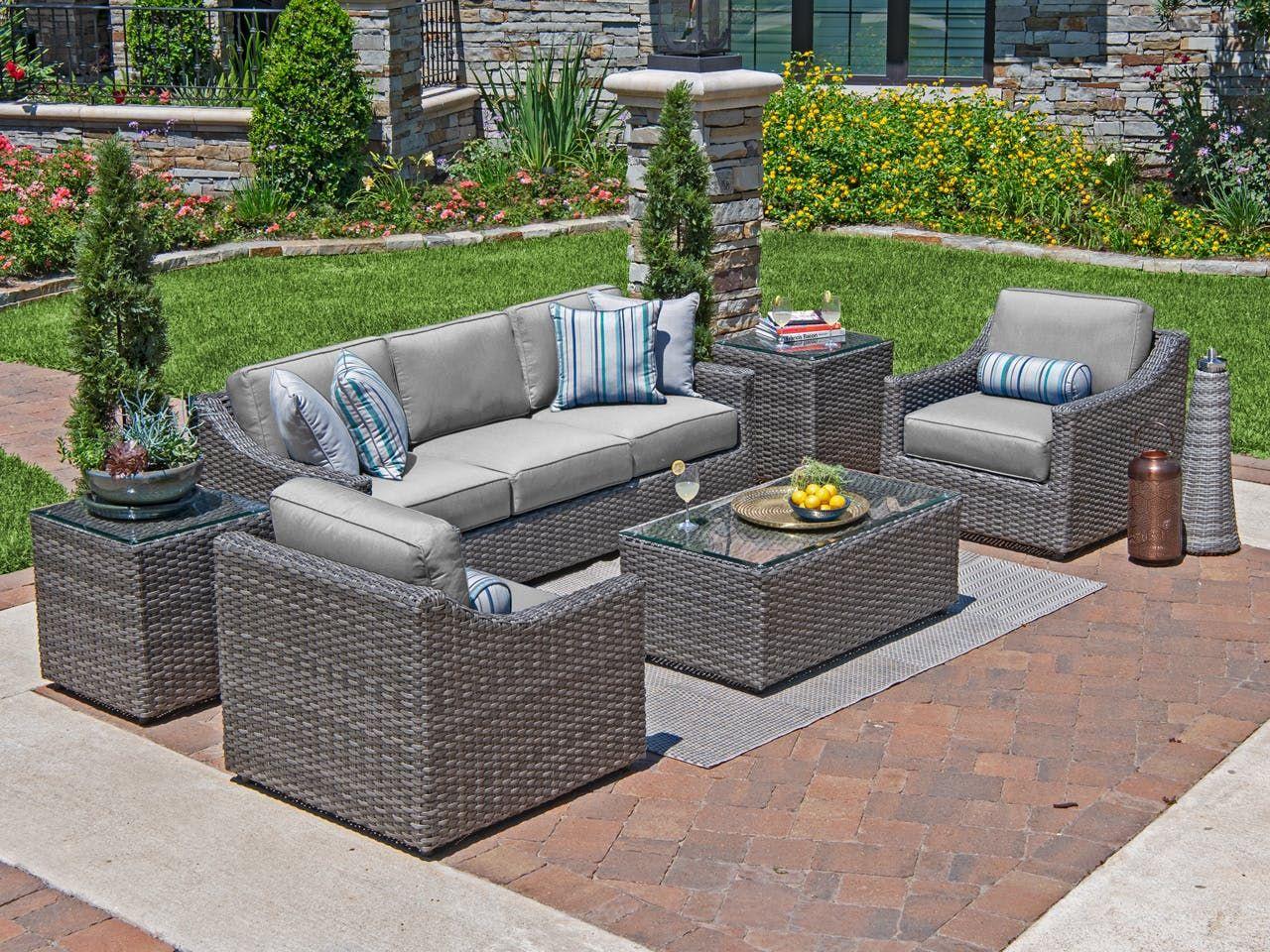 Horizon Saddle Grey Aluminum And Resin Wicker 3 Pc Cushion Sofa