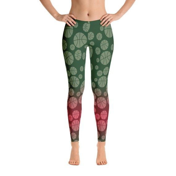 Boll Green Red All Over Pattern Leggings Circle Pattern Green Bottom Leggings ,High Waist Yoga Shor