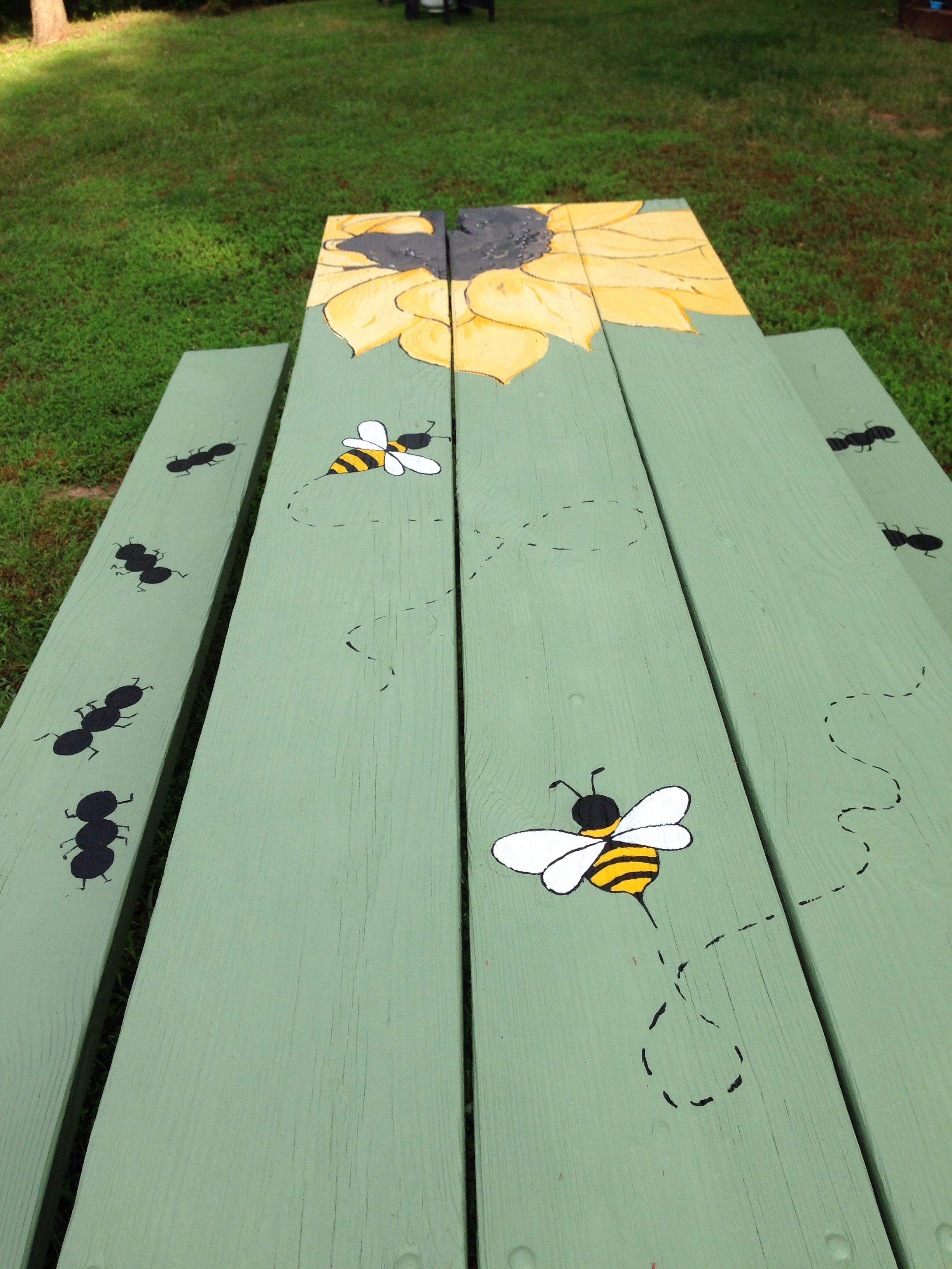 Table Painting Designs Painted Picnic Table Diy Backyard Stuff Pinterest