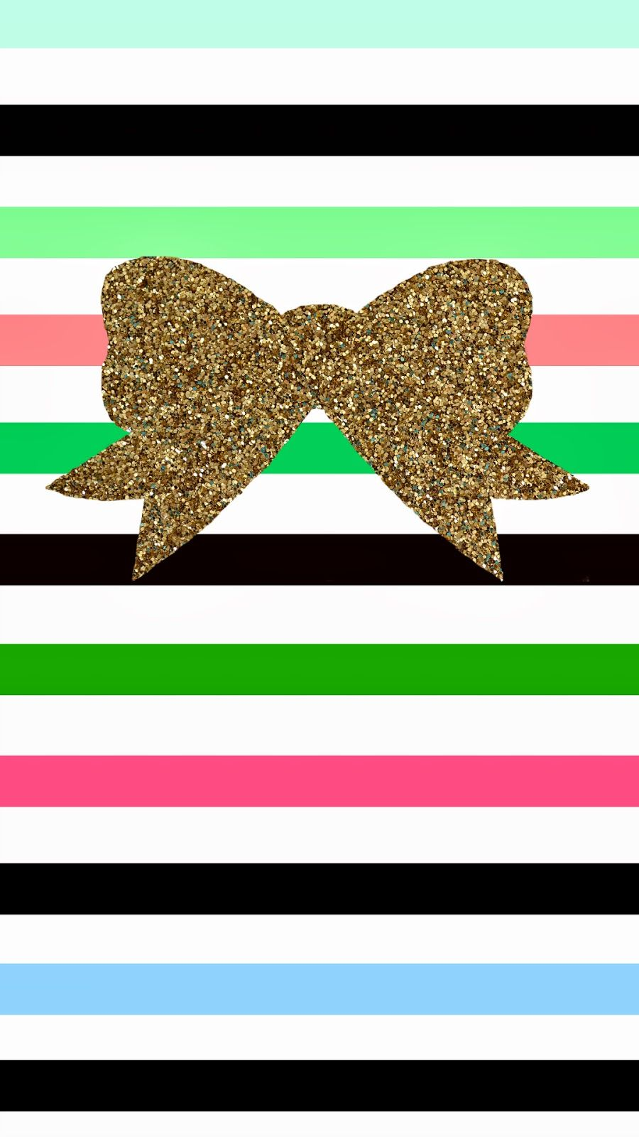 glitter bow and colorful candy striped phone wallpaper