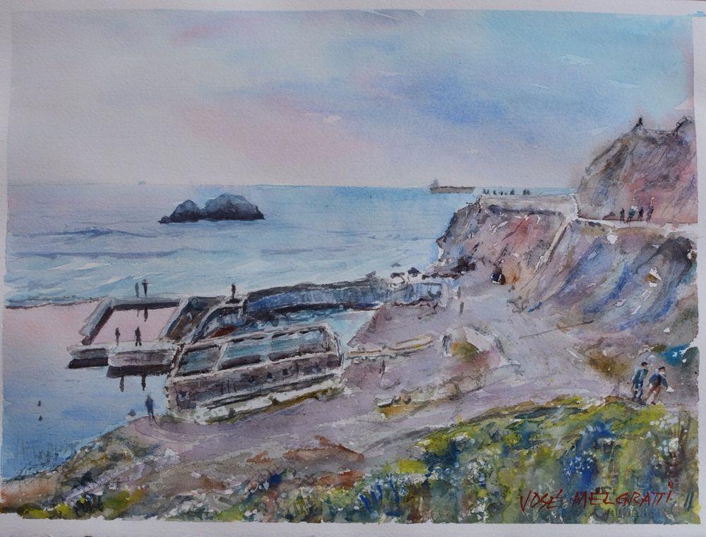"Watercolor Original Painting 11"" x 15""  NOT A PRINT  Sutro, San Francisco #Realism"