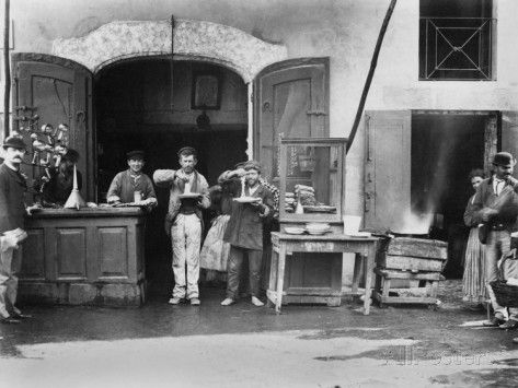 Men Eating Long Spaghetti at a Street Food Shop in Naples, Italy, Ca. 1900 Posters at AllPosters.com