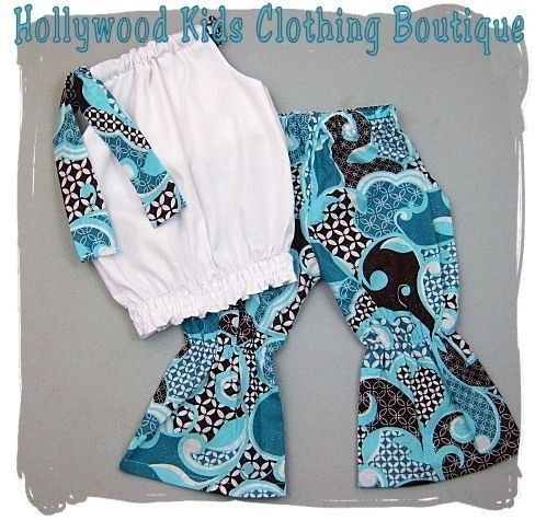 Custom Boutique Clothing White Bubble Smock Pillowcase Dress Top Aqua Brown Pant Outfit 3 6 9