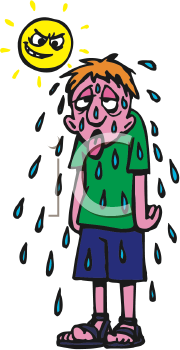 Royalty Free Clipart Image of a Boy Sweating | Hot & fans