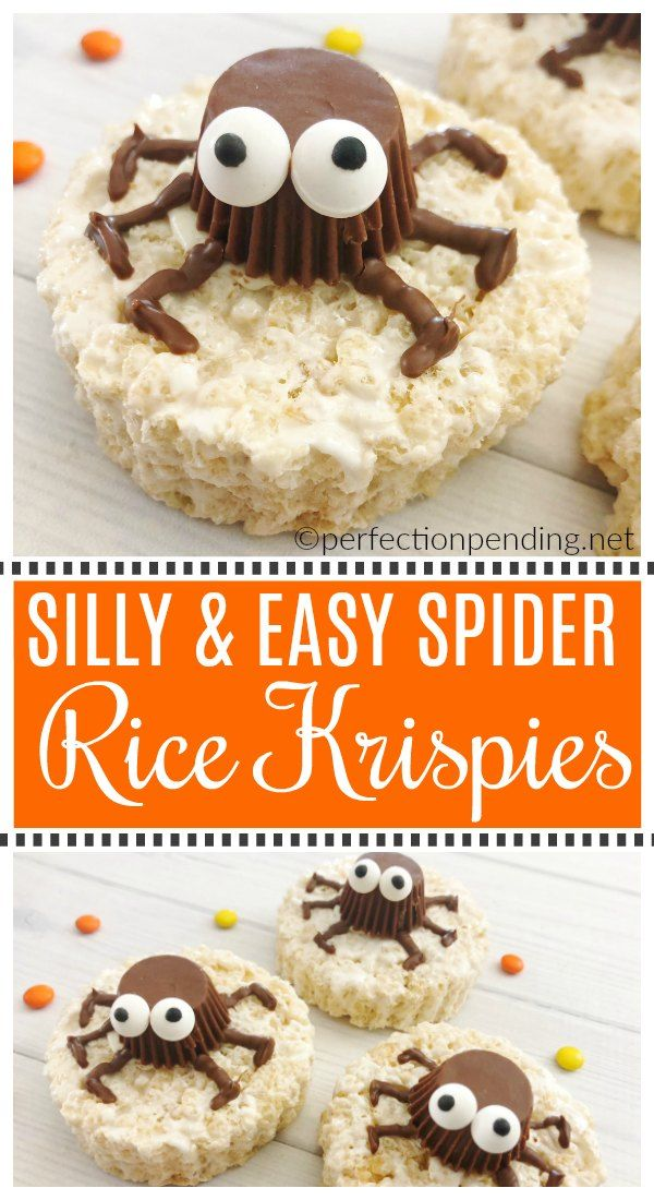 easy halloween spider rice krispie treats recipe halloween pinterest scary halloween treats halloween party treats and reeses peanut butter
