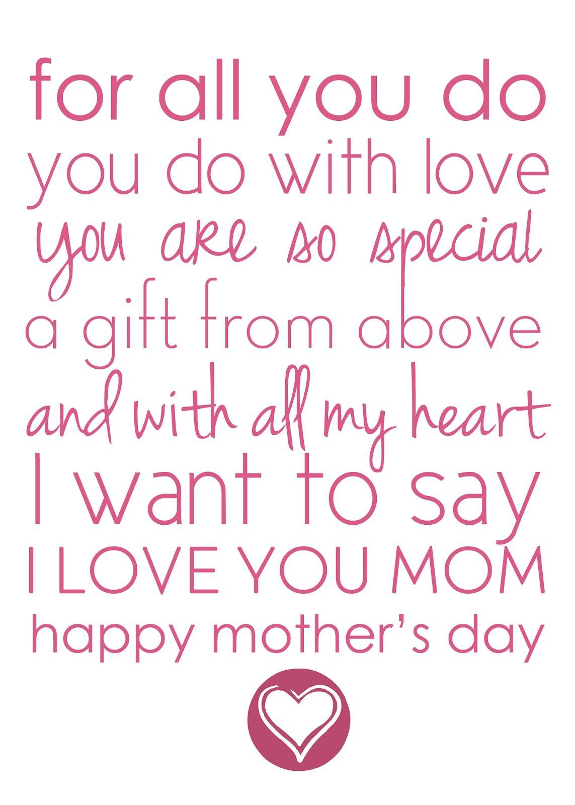 Short Mother's Day Quotes Mothers day poems, Happy