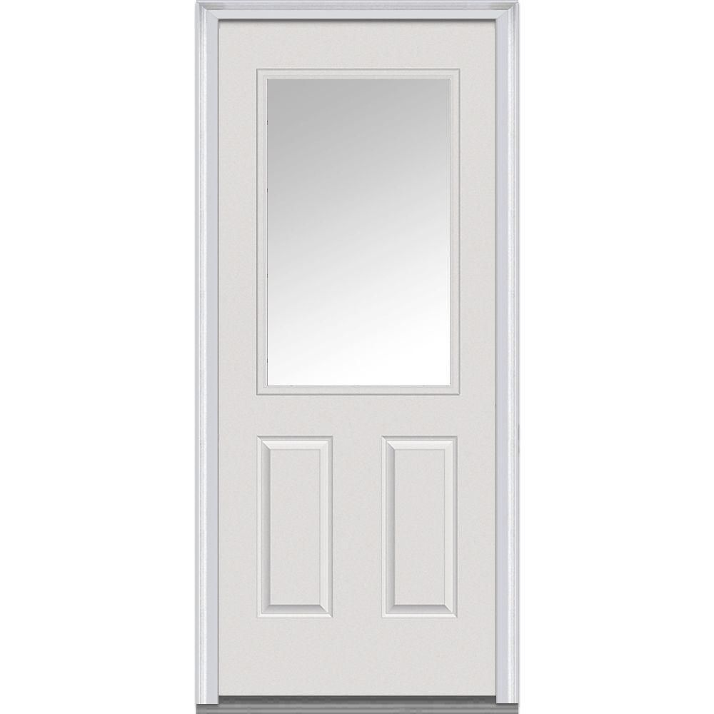 mmi door 36 in x 80 in clear left hand 1 2 lite 2 panel classic