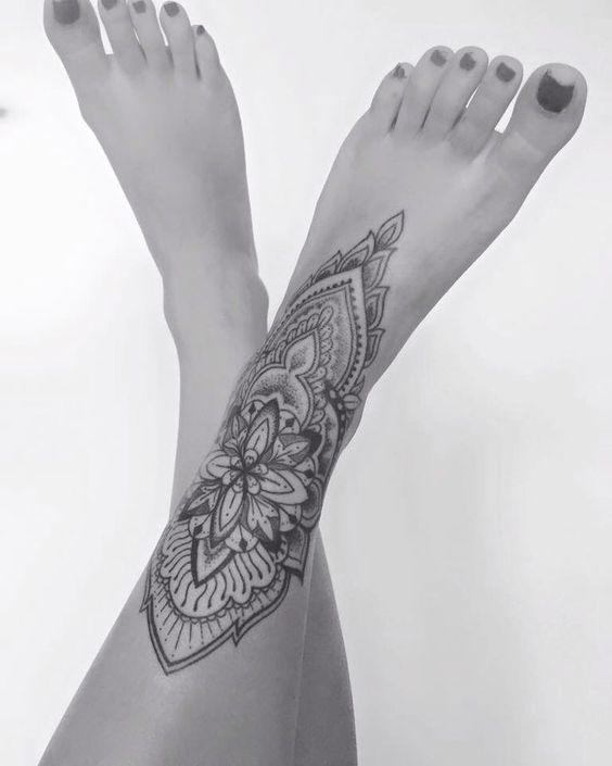 Tattoos For Women Mandala Tattoos Meaningful Tattoos Mandala Tattoo Sleeve Leg Tattoos Women Foot Tattoos Anklet Tattoos