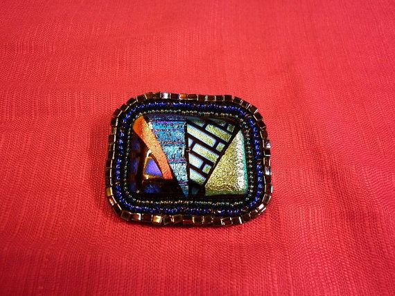 Dichroic Cabochon With Bead Embroidery Pin Back by LippardJewelry, £19.99