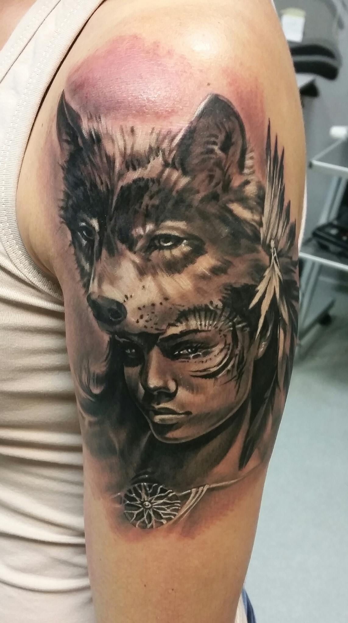 Woman With Wolf On Head Tattoo By Adam Kjalfo Limited Availability At Redemption Tattoo Studio Tattoo Studio Head Tattoos Tattoos