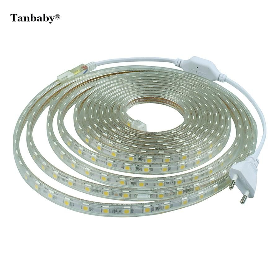 Visit To Buy Tanbaby Led Strip 5050 220v With Power Plug 60 Led M Ip67 Waterproof Outdoor Home Dec Led Strip Lighting Led Tape Lighting Rgb Led Strip Lights