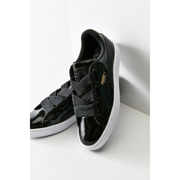 puma basket patent lace up platform sneakers