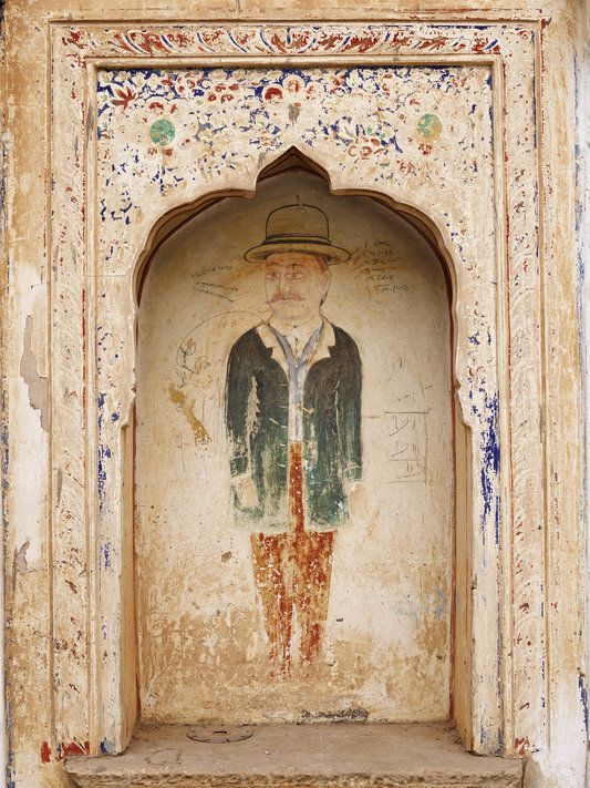 A 19th Century Wall Painting Depicting A European At Modi Haveli In