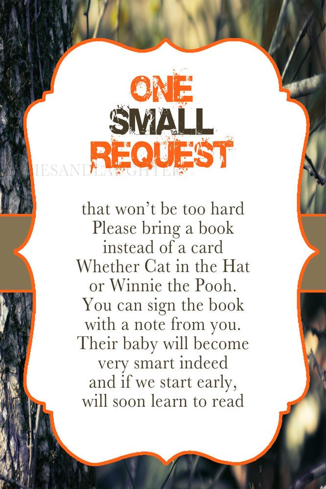 Realtree Camo Baby Shower Bring a Book Card 4x6 Duck Hunting Baby ...