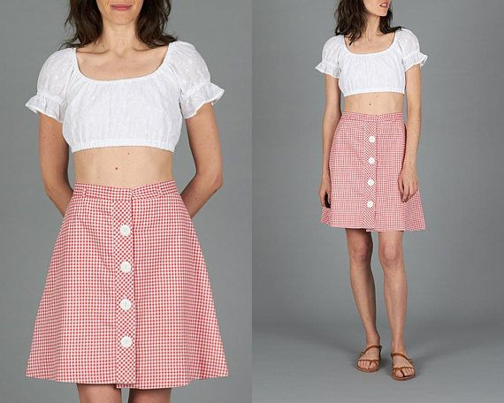 Vintage 60s Red Gingham Skirt