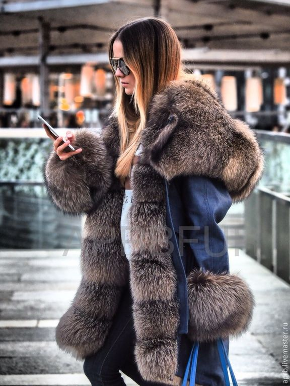 492037ddf999 Купить Парка джинсовая из плотного денима с мехом шикарного песца - куртка,  куртка женская