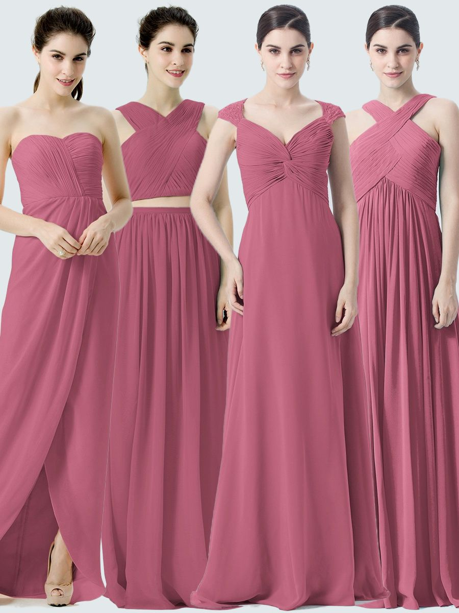 Different styles of bridesmaid dresses all in the same