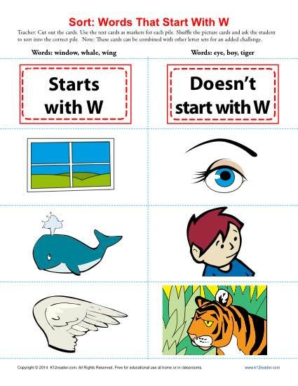 Words Starting With Letter W  Worksheets Printable Worksheets
