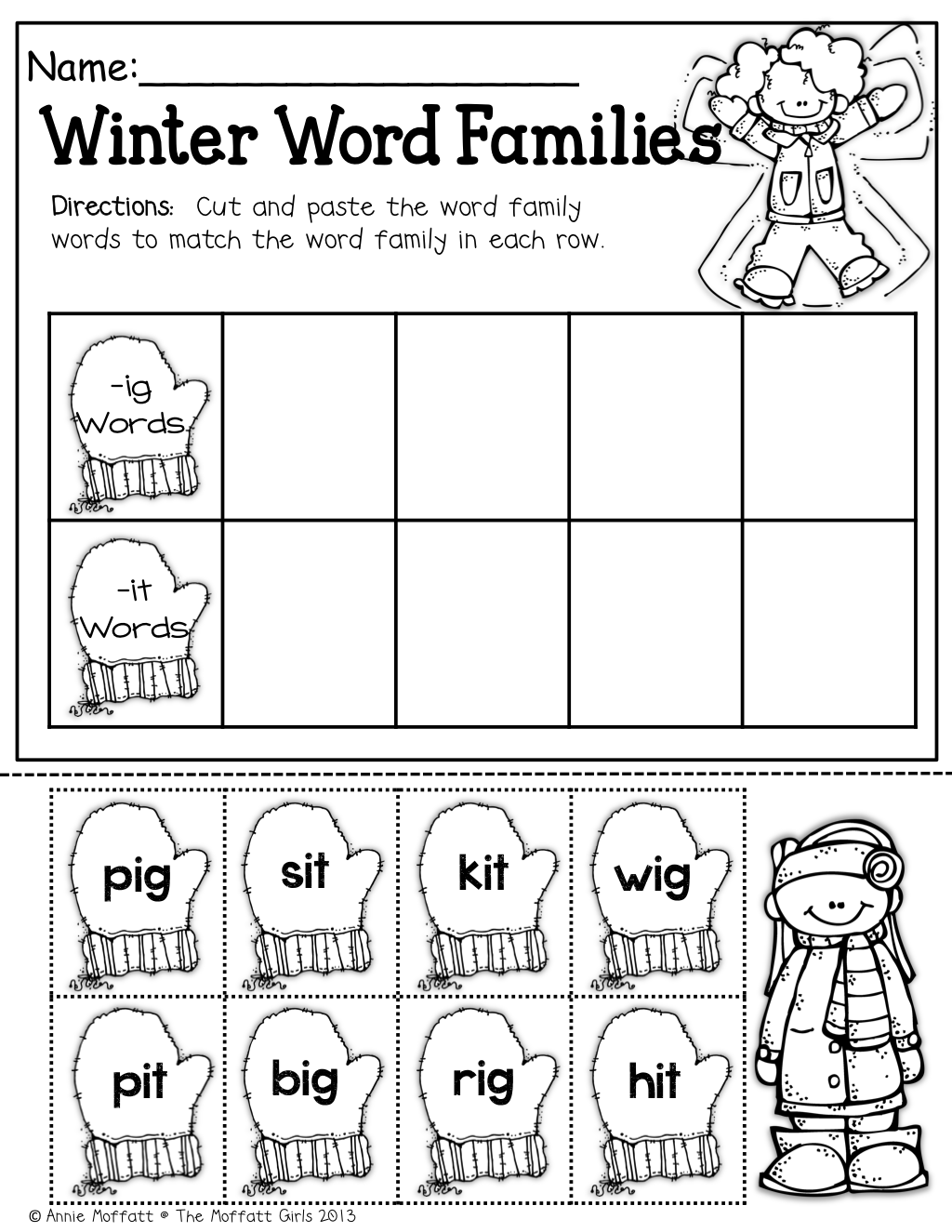 Winter Word Families Cut And Paste