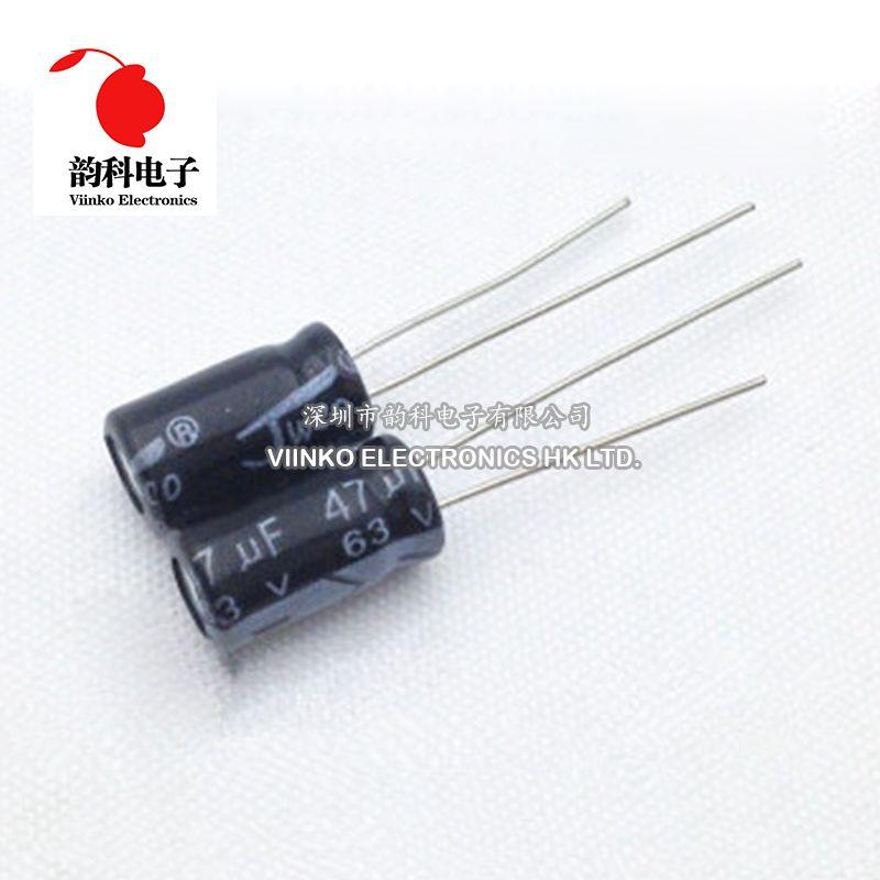 50ピース47 Uf 63ボルト6 11ミリメートル電解コンデンサ63ボルト47 Uf 6 11ミリメートルアルミ電解コンデンサ