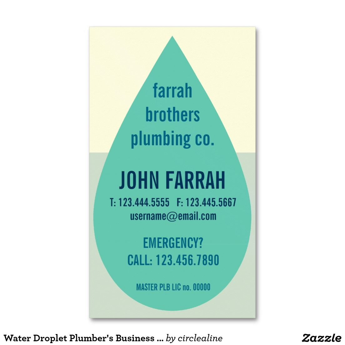 Water Droplet Plumbers Business Card Template