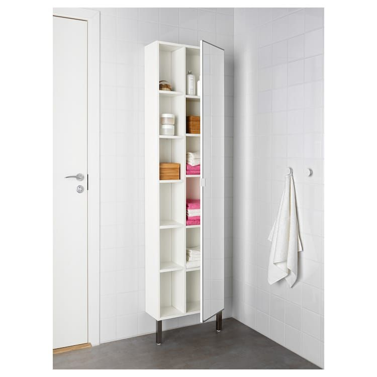 Lillangen Colonne Miroir 1porte 1etag Fin Blanc 49x21x194 Cm Meuble Fin Ikea Organiser Buanderie