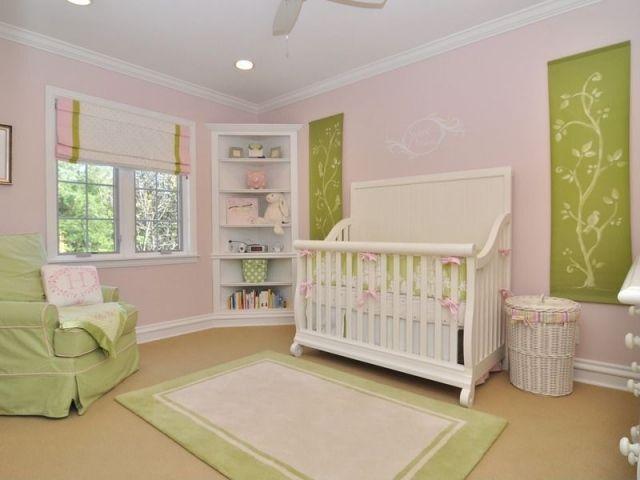 Babyzimmer Idee Einrichtung Rosa Grun Madchen Eckregal Stauraum